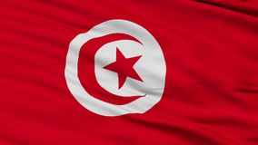 Closeup Tunisia city flag, Tunisia. Tunisia closeup flag, city of Tunisia, realistic animation seamless loop - 10 seconds long stock video