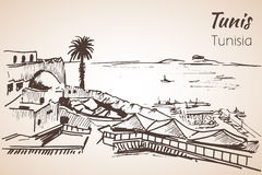 Tunisia coastline resort sketch. Isolated on white background stock illustration