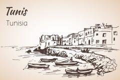 Tunisia coastline sketch. Isolated on white background royalty free illustration