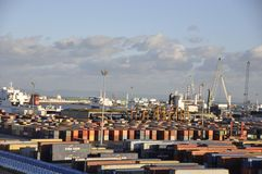 Tunisia: The container harbour of Tunis city royalty free stock photography