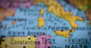 Tunisia country map on the globe. Jakarta - Indonesia. February 14, 2018: Closeup of Tunisia country map on the world map. Tunisia is a country in North Africa stock video