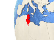 Tunisia on 3D globe Stock Image