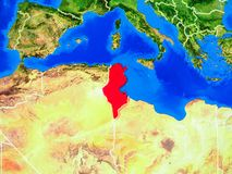 Tunisia on Earth with borders. Tunisia from space on model of planet Earth with country borders and very detailed planet surface. 3D illustration. Elements of stock photo