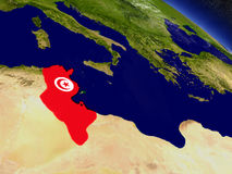 Tunisia with embedded flag on Earth Stock Image