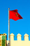 Tunisia   flag in the blue sky  colour and battlements  wave Stock Photography