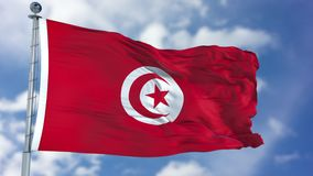 Tunisia Flag in a Blue Sky. Use this clip loud and proud to express loyalty and love to our country. It is a seamless loop with luma channel stock photography