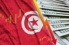 Tunisia flag and chart falling US dollar position with a fan of dollar bills. Concept of depreciation value of US dollar currency stock illustration