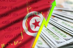 Tunisia flag and chart growing US dollar position with a fan of dollar bills. Concept of increasing value of US dollar currency stock illustration
