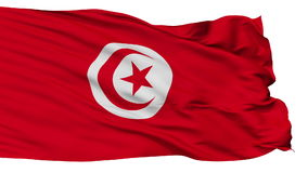 Isolated Tunisia city flag, Tunisia. Tunisia flag, city of Tunisia, realistic animation isolated on white seamless loop - 10 seconds long alpha channel is stock video footage