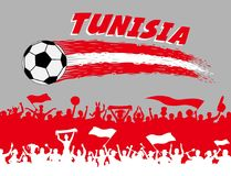 Tunisia flag colors with soccer ball and Tunisian supporters sil. Houettes. All the objects, brush strokes and silhouettes are in different layers and the text Royalty Free Stock Image