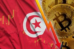 Tunisia flag and cryptocurrency falling trend with many golden bitcoins. Concept of reduction Bitcoin in price or bad conversion in cryptocurrency mining vector illustration