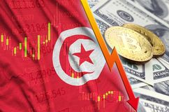 Tunisia flag and cryptocurrency falling trend with two bitcoins on dollar bills. Concept of depreciation Bitcoin in price against the dollar vector illustration