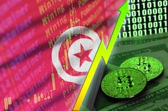 Tunisia flag and cryptocurrency growing trend with two bitcoins on dollar bills and binary code display. Concept of raising Bitcoin in price and high royalty free stock photography