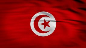 Tunisia Flag 3d render 4k. Tunisia flag composed by a red crescent moon and a star over a white circle and a red background, 3d render animation of a flag in stock video