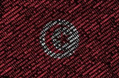 Tunisia flag is depicted on the screen with the program code. The concept of modern technology and site development.  royalty free stock images