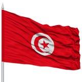 Tunisia Flag on Flagpole Royalty Free Stock Photo