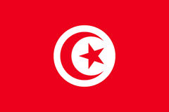 Tunisia flag flat. Tunisia flag. National current flag, government and geography emblem. Flat style vector illustration Royalty Free Stock Photo
