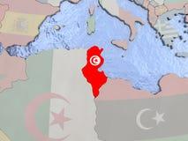 Tunisia with flag on globe Stock Image