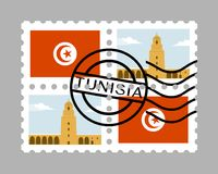 Tunisia flag and great mosque of kairouan on postage stamps Stock Image