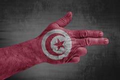 Tunisia flag painted on male hand like a gun. Isolated stock photos