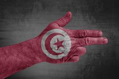 Tunisia flag painted on male hand like a gun. Isolated stock photography