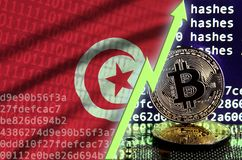 Tunisia flag and rising green arrow on bitcoin mining screen and two physical golden bitcoins. Concept of high conversion in cryptocurrency mining royalty free illustration