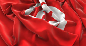 Tunisia Flag Ruffled Beautifully Waving Macro Close-Up Shot. Studio Royalty Free Stock Image