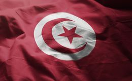 Tunisia Flag Rumpled Close Up.  stock image
