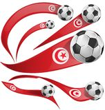 Tunisia flag set with soccer ball. Isolated on white background Stock Photos