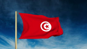 Tunisia flag slider style. Waving in the wind with. Tunisia flag slider style. Waving in the win with cloud background animation stock video footage