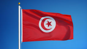 Tunisia flag in slow motion seamlessly looped with alpha stock footage