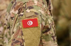 Tunisia flag on soldiers arm. Tunisia troops collage.  royalty free stock image