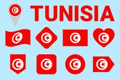 Tunisia flag vector set. Tunisian natioanl symbols collection. Geometric shapes. Flat style. sports, national, travel, geographic royalty free illustration