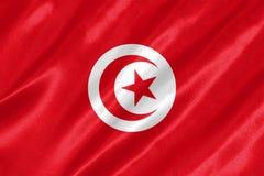 Tunisia Flag. With waving on satin texture royalty free stock photo