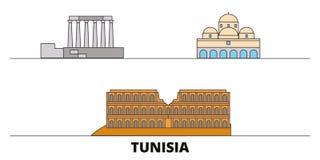 Tunisia flat landmarks vector illustration. Tunisia line city with famous travel sights, skyline, design. Tunisia flat landmarks vector illustration. Tunisia vector illustration