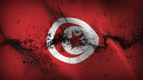 Tunisia grunge dirty flag waving on wind. Tunisian background fullscreen grease flag blowing on wind. Realistic filth fabric texture on windy day Royalty Free Stock Image