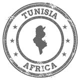 Tunisia grunge rubber stamp map and text. stock illustration