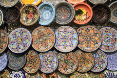 Tunisia handcrafted traditional plates and pottery souvenirs Stock Image
