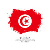 Tunisia Independence Day, 20 march greeting card with tunisian national flag brush stroke background. Royalty Free Stock Image