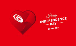 Tunisia Independence Day. 20 March. Waving flag in heart. Vector. Royalty Free Stock Photo