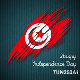 Tunisia Independence Day Patriotic Design. Expressive Brush Stroke in National Flag Colors on dark striped background. Happy Independence Day Tunisia Vector Royalty Free Stock Photo