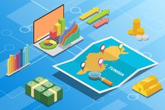 Tunisia isometric financial economy condition concept for describe country growth expand - vector. Illustration royalty free illustration
