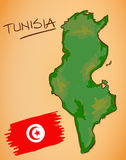Tunisia Map and National Flag Vector Royalty Free Stock Image