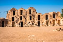 Tunisia. Medenine. Fragment of old Ksar located inside village. There were formerly fortified granaries Ghorfas Stock Photography