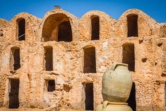 Tunisia. Medenine. Fragment of old Ksar located inside village. There were formerly fortified granaries (Ghorfas Royalty Free Stock Photo