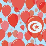 Tunisia National Day Flat Seamless Pattern. Flying Celebration Balloons in Colors of Tunisian Flag. Happy Independence Day Background with Flags and Balloons Stock Photo