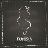 Tunisia outline vector map hand drawn with chalk. Stock Photos