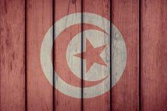 Tunisia Flag Wooden Fence. Tunisia Politics News Concept: Tunisian Flag Wooden Fence stock image