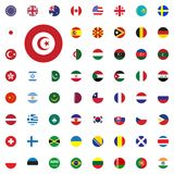 Tunisia round flag icon. Round World Flags Vector illustration Icons Set. Tunisia round flag icon. Round World Flags Vector illustration Icons Set Stock Photo