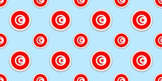 Tunisia round flag seamless pattern. Tunisian background. Vector circle icons. Geometric symbols. Texture for travel vector illustration